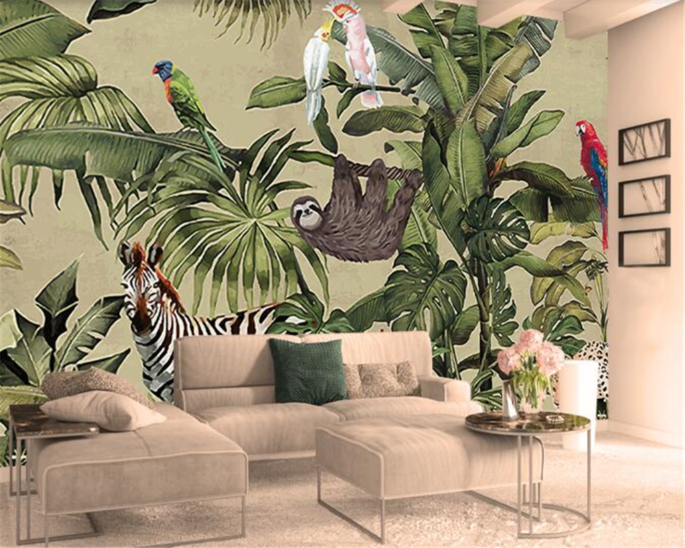 US $8.85 41% OFF|beibehang Retro Tropical Rain Forest Animal Palm Leaf  Wallpaper Decor Interior Living Room Bed Head Background Wall 3d  wallpaper-in ...