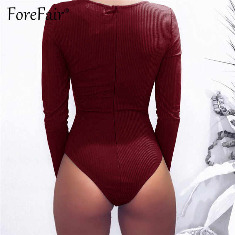 b34b162f7 ... Forefair Slim Black Bodysuit Autumn Winter Rompers Womens Jumpsuits  Long Sleeve V Neck Drawstring Ruched Skinny ...