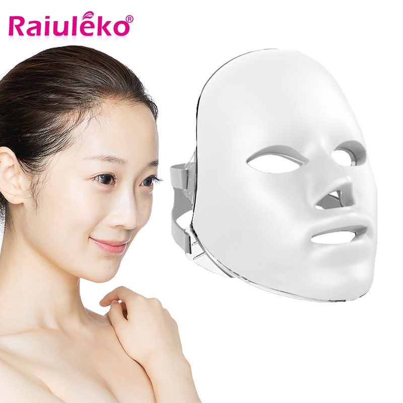 Ultralight 7 Colors Light LED Facial Mask Korea Photon Therapy Skin Rejuvenation Face Care Treatment Beauty Anti Acne Whitening