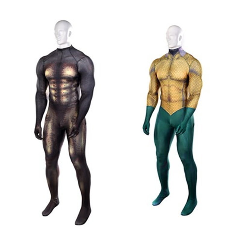 Anime DC Comic Aquaman Flesh Gold Sea King Cosplay Zentai Costume Saint Leotard Game Show Props Costume Adult / Child /