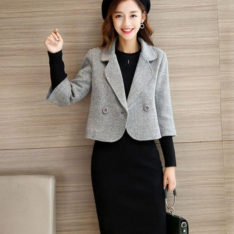 New winter autumn woolen women short grey coat