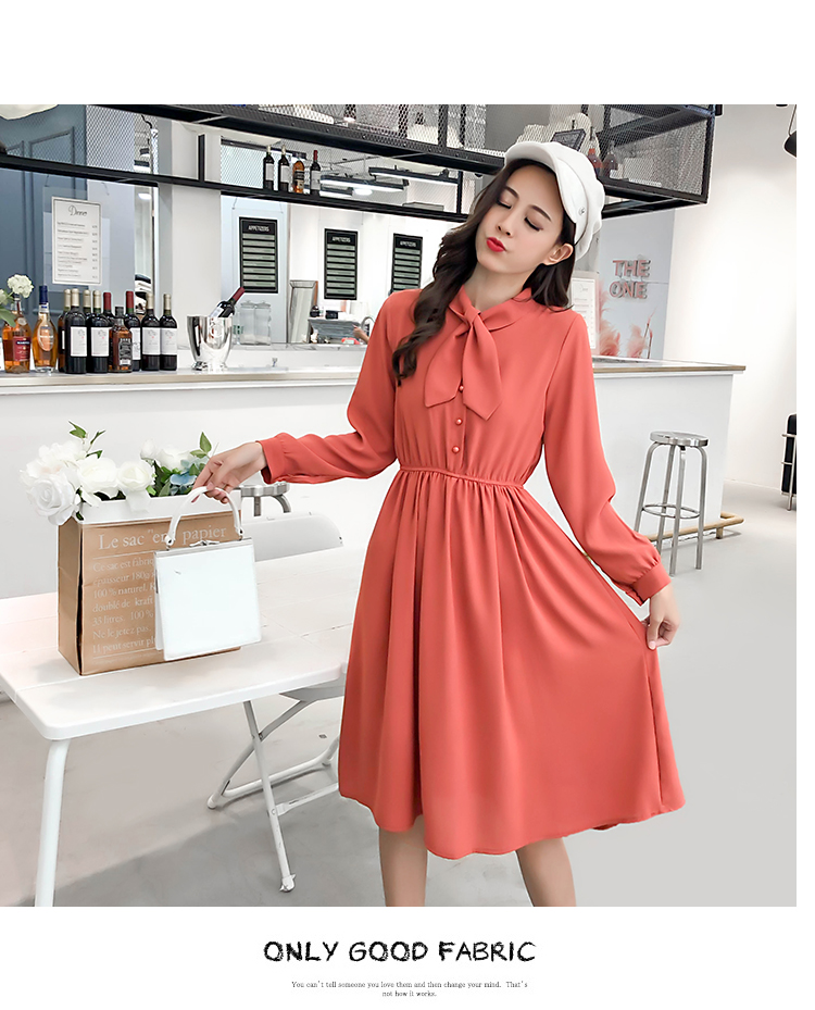 fashion bow collar women dresses party night club dress 2019 new spring long sleeve solid chiffon dress women clothing B101 21