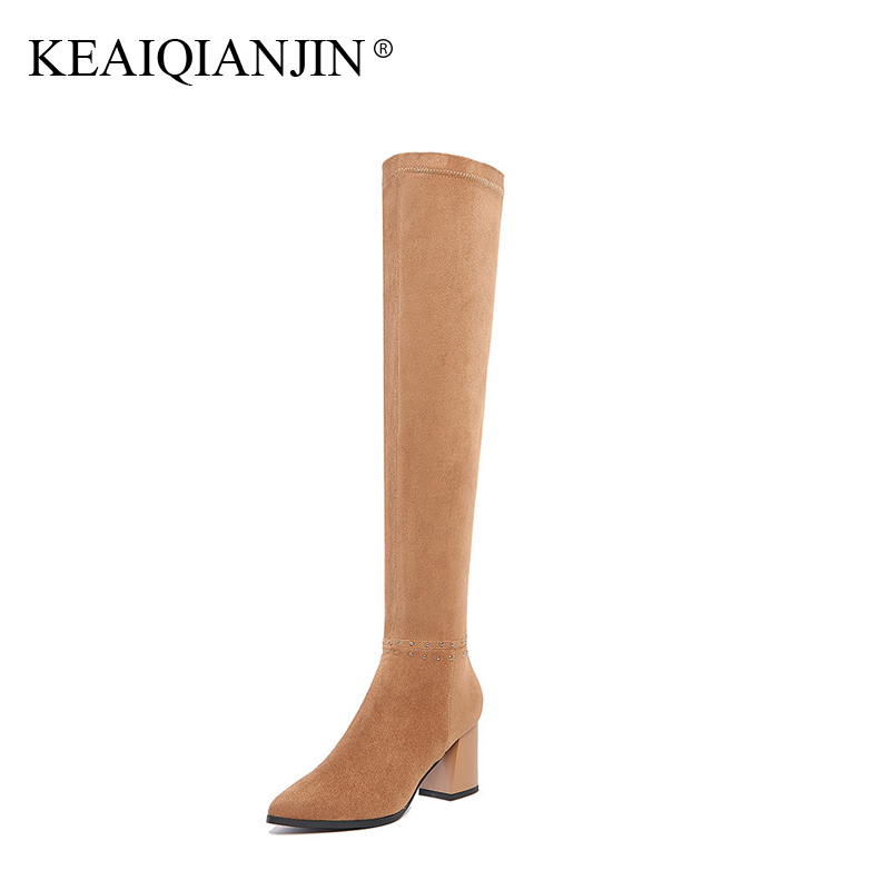 KEAIQIANJIN Woman Genuine Leather Over The Knee Boots Rivet Plus Size 33 - 41 Winter Shoes Plush Genuine Leather Knee High Boots genuine leather