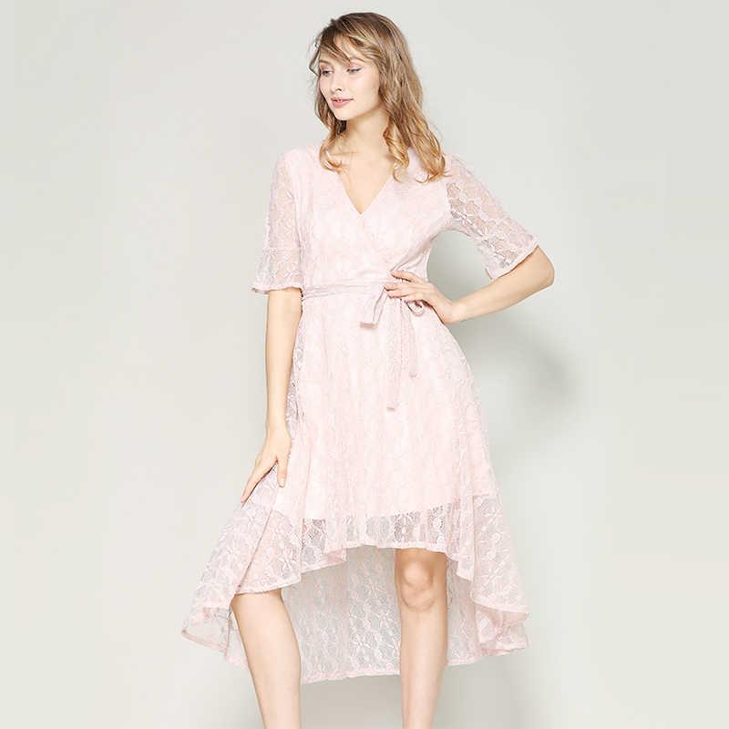 Hanyiren кружевное платье с принтом на рукаве с Платье с поясом элегантное платье с v-образным вырезом розового цвета платье с широкой юбкой пляжное летнее женское платье 2019 Симпатичные Flare