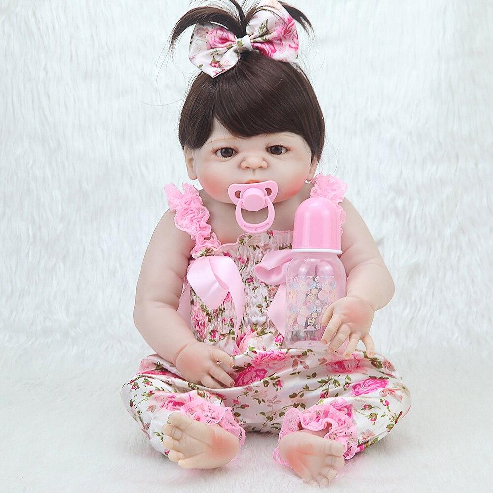 23 дюймов NPK 55 см мягкие силиконовые Reborn Baby Doll девушка игрушки Реалистичные Младенцы Boneca полный виниловые куклы Bebe reborn Menina