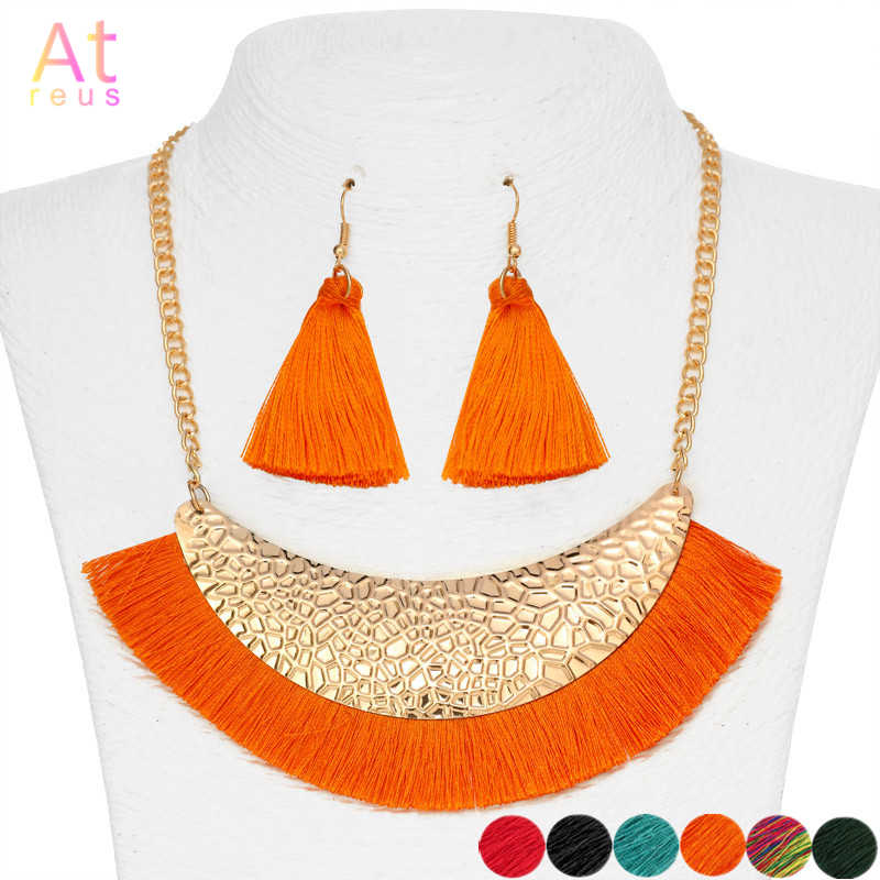 Orange Wide Fringe Bib Necklace Set For Women Long Tassel Drop Earrings Nigeria Wedding Jewelry Set Gold Color Metal bijoux
