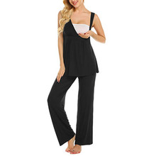 Tops Long Pant Summer Wear Women Maternity Nursing Sleeveless Solid Set V-Neck Strapy Pregnancy Breastfeeding MM605