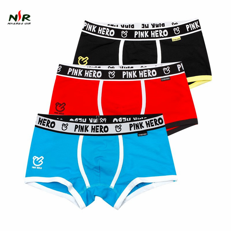 Pink Hero Panties Mens Best Selling Mens Underwear Boxers Modal Boxer Men Printed Boxer Shorts Boxers Mens Underwear 3pcs/lot