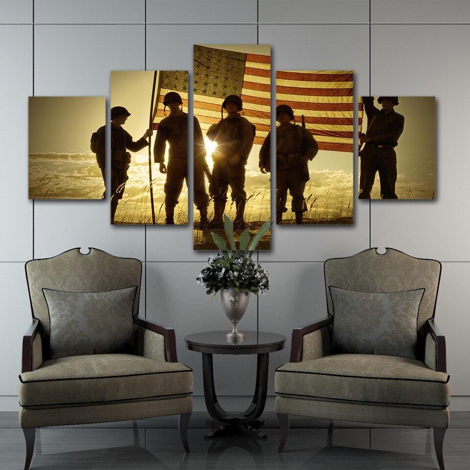 Print, American, Living, Canvas, Frame, Modular