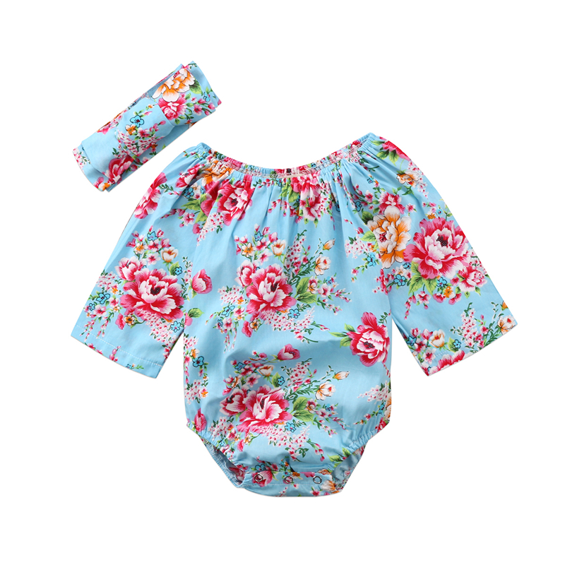 Cute Baby Clothing Newborn Baby Girls Floral Long Sleeve Romper 2pcs 2018 New Years Jumpsuit Bebes Flower Romper Outfits 0-18M