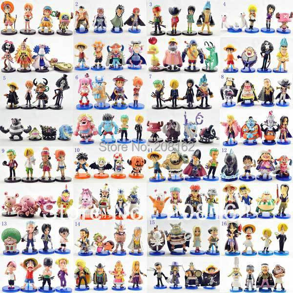 Different Styles One Piece Figures Japanese  Anime Cartoon Monkey ` D ` Luffy Ice WCF Dolls Toys Model  (8 Pcs =1 Set)