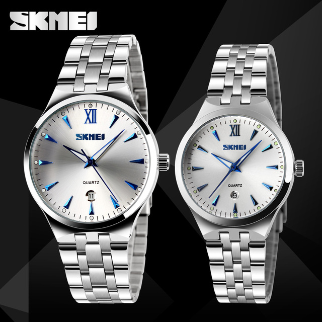 SKMEI New Quartz Watch Lovers Watches Women Men Dress Watches Stainless Steel Waterproof Wristwatches Fashion Casual Watches