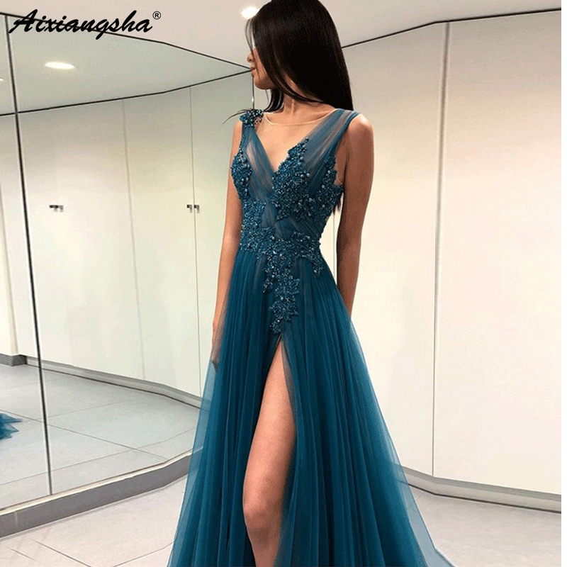V-Neckline Beaded Appliques High Slit Tulle Open Back Evening Party Prom Gowns Vestidos De Fiesta Prom Long Elegant Dresses
