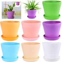 7 Color Mini Plastic Flower Pot Succulent Planters Flowerpot Colorful Garden Bonsai Pot Decorative Home Office Decor(China)