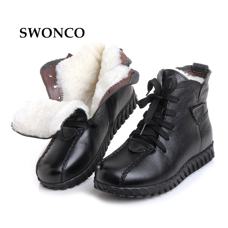 SWONCO Women's Winter Boots Genuine Leather Fur Wool Warm Woman Snow Boot Ankle Boots For Women Black Flat Ladies Shoes Boot keaiqianjin woman studded snow boots pink black winter genuine leather flat shoes flower platform fur crystal ankle boot 2017