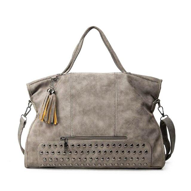 New 2016 Fashion Rivet Women handbag Frosted Women Messenger Bag Large Capacity Women Tote Shoulder bag Ladies Tassel Bag bolsas