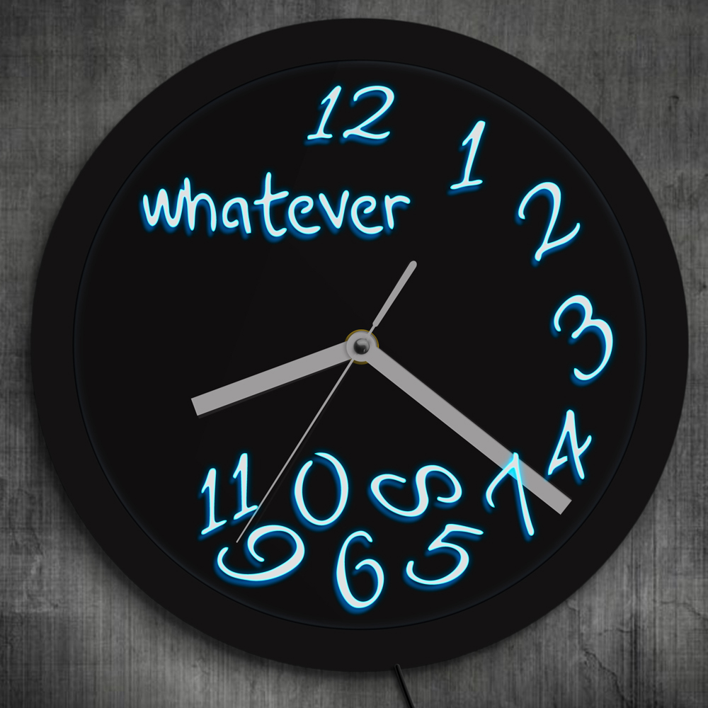 цена на 1Piece Whatever You Are Late Anyway LED Neon Effect Wall Clock Whatever LED Lighted Clock Modern Design Illuminated Wall Clock