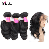 Meetu Brazilian Loose Wave Pre Plucked 360 Frontal with Bundles Human Hair Bundles with Frontal 2 Bundles with Frontal Non Remy