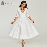 Women Elegant White Dresses Deep V Neck Expansion A line Evening Party Dress Summer Wedding Satin Long A line Runway Dress