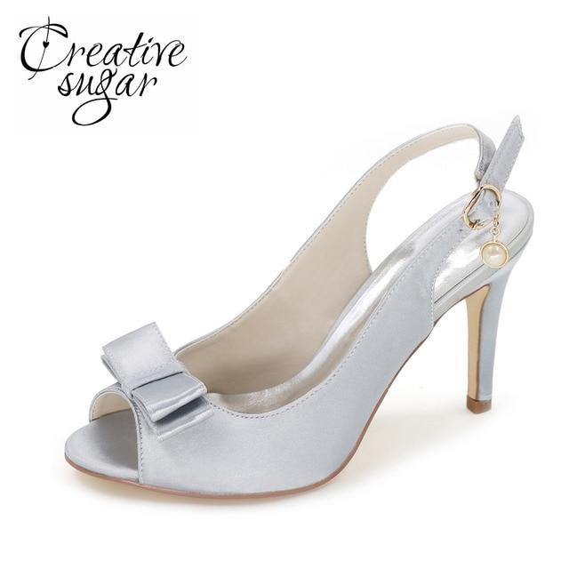 Creativesugar slingback satin evening dress shoes bow bowknot wedding party  bridal cocktail pumps open toe pumps lady 7 colors