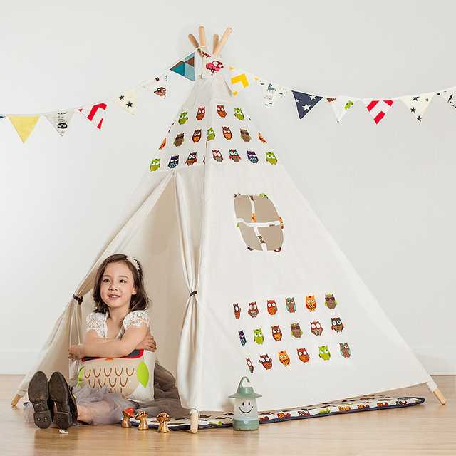 New Princess Home Decoration Play Tent Mosquito Net Cartoon Owl Four Poles Children Teepees Indian Tent For Girls Kids Baby 0-10