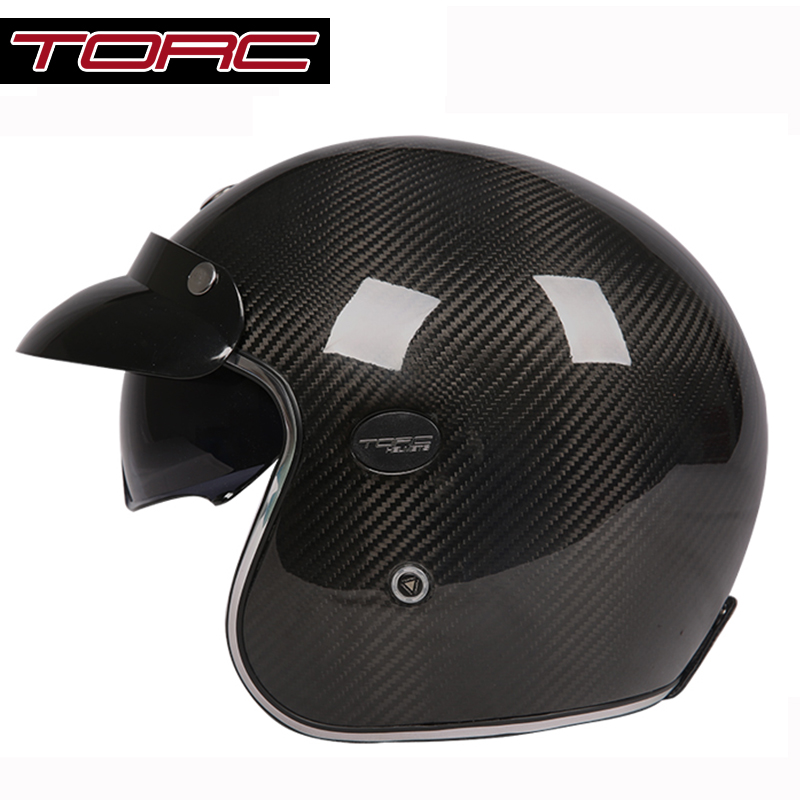 Carbon Fiber Motorcycle Helmet >> TORC Capacetes carbon fiber vintage motorcycle helmet 3/4 open face retro helmet ECE DOT ...