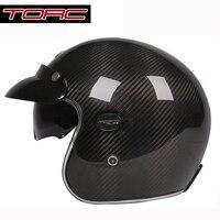 Torc capacetes rocznik motocykla kask z włókna węglowego 3/4 otwarta twarz retro kask ece dot zatwierdzony rozmiar l xl xxl