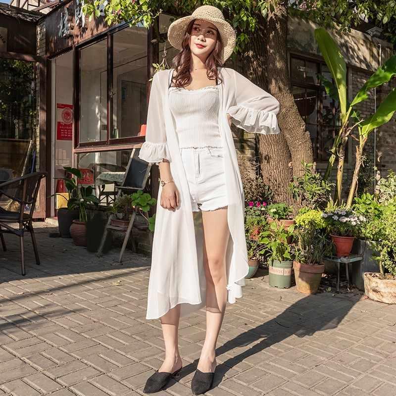 XXXL летняя шифоновая блузка для женщин оборками рукавом Свободные топы корректирующие блузки для малышек плюс размеры шифоновое кимоно кардиг