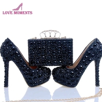 2018 Nightclub Banquet Shoes with Finger Clutch Black Crystal Handmade Wedding Party High Heels with Matching Purse Prom Pumps