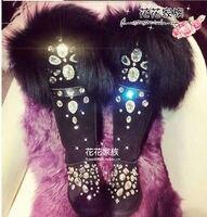 Handmade pearl diamond snow boots sweet Lolita real warm purple fur feather Christmas gift