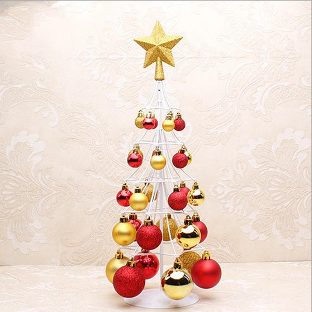 Christmas Tree Decoration Miniature Christmas Ball Tower Tree Top Star Christmas Decorations For Home Party Gift bolas in Trees from Home Garden