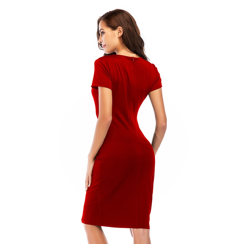900f34fc553 2018 New Summer Bodycon Black Red Blue Dress Women Front Zipper Square Neck  Short Sleeve Sundress Sexy Mini Slim Party Dress-in Dresses from Women s ...