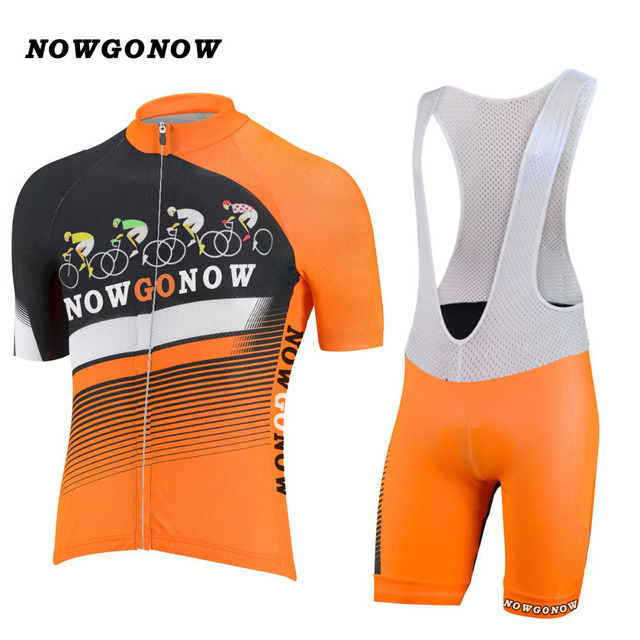 Men custom cycling jersey set team orange clothing bike wear pro road  mountain Triathlon maillot NOWGONOW gel pad bib shorts aaeaa9515