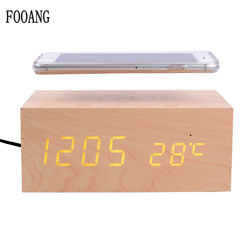 FOOANG Wireless speaker bluetooth speakers wood universal qi Wireless charger clock thermometers desktop AUX for tv PC phone usb nillkin cozy mc1 2 in 1 qi wireless charger hifi bluetooth speaker