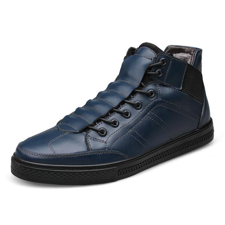 Tornozelo De Huanqiu 100 Preto blue Cotton Real Cotton 2018 Qualidade Dos Wyq134 Genuíno Pele black Botas With Sapatos Hight Inverno azul brown Couro Preto Com Homens vF8qwvx