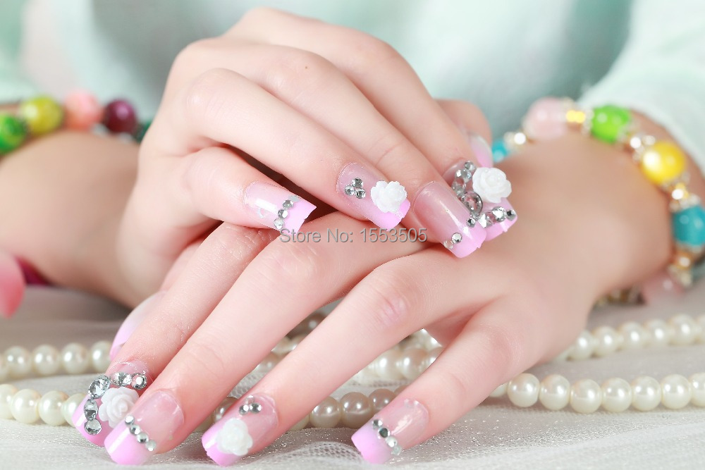 Kids False Nails French Stiletto Fake Nail Tips 100x Full Cover Acrylic Artificial Lady Gagas Harajuku Ongle In From Beauty