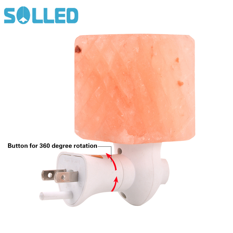 SOLLED Originality Salt Lamp Himalayan Glow Hand Natural Crystal Salt Lamp Night Light Wireless Bulb Replaceable