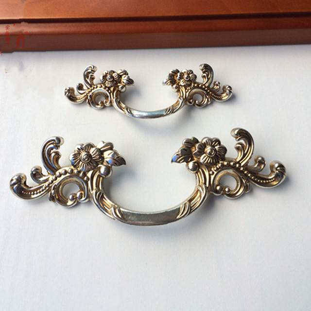 Shabby Chic Dresser Pull Drawer Pulls Door Handles Antique Silver French  Country Vintage Furniture Cabinet Knob