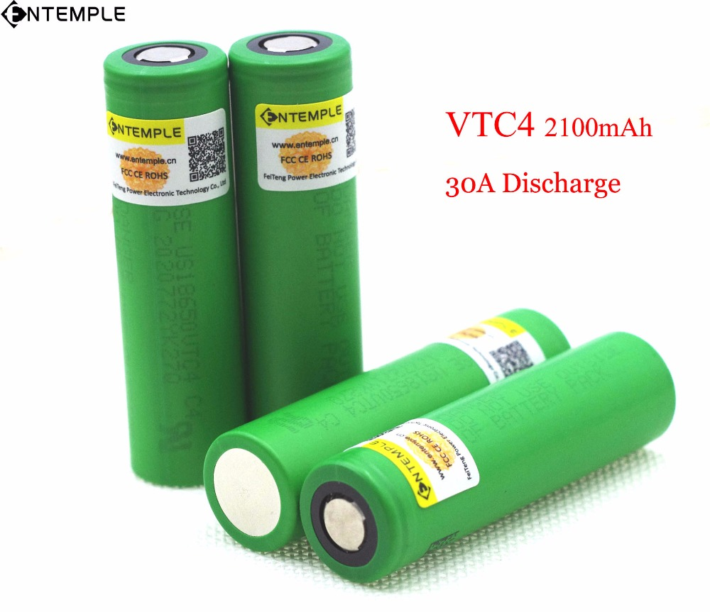 4PCS ENTEMPLE VTC4 3.7V 2100 mAh 18650 Li-ion Battery 35A Discharge for Sony US18650VTC4 Toy Flashlight Tools E-cigarette ues