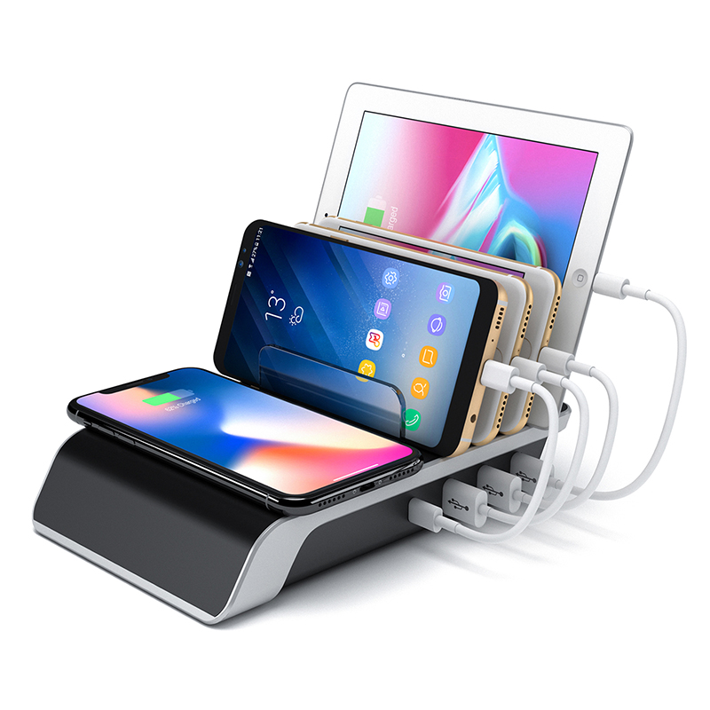 Universal 4 Port Cellphone USB Charger Station Organizer Multi Ports Fast Qi Wireless Charging Station Dock for iPhone Samsung