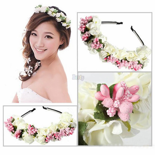 Flower Garland Boho Floral Headwear Headband Garland Festival Wedding Bridal Hairband Women Pink/White Free Shipping
