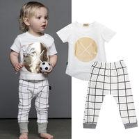 Tops T Shirt Pants White Plaid Outfits Set 2pcs Clothing Sets Organic Newborn Infant Baby Girls