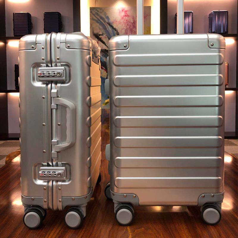 BeaSumore 100 Aluminum magnesium alloy Men Rolling Luggage Spinner Wheel Suitcase 20 inch Cabin Trolley Password
