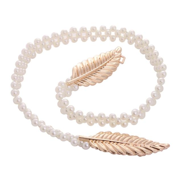 887784952659 Nouvelle Or Argent Métal Feuille Faux Perle Bracelet Chaîne Lady Ceinture  Mince Maigre Élastique Ceinture Cinturon