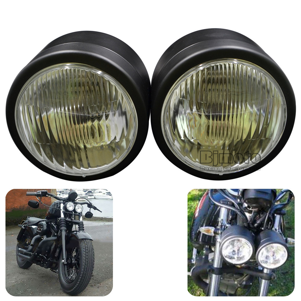 BJGLOBAL Super 4-1/4 Twin Dominator Headlight Dual Motorcycle LED Stop Lights For Harley Streetfighter Cafe Racer ...