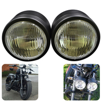 BJGLOBAL Super 4 1/4'' Twin Dominator Headlight Dual Motorcycle LED Stop Lights For Harley Streetfighter Cafe Racer