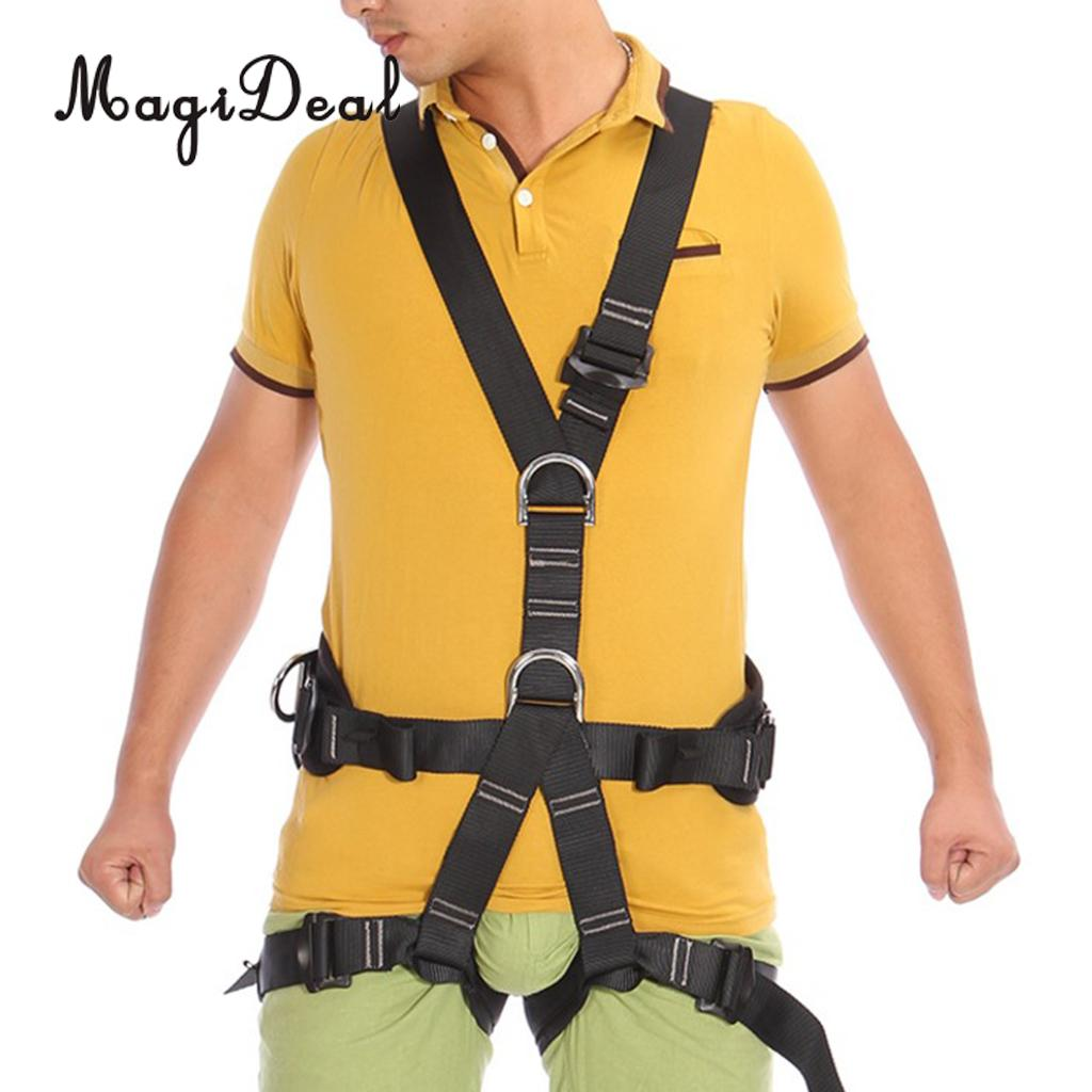 MagiDeal Outdoor Rock Tree Climbing Rappelling Full Body Safety Belt Harness Black for Mountaineering Floor Escape Camping magideal top quality rock climbing safety harness sitting belt rappelling carabiner rope gear set for outdoor hiking safety acce