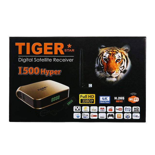TIGER i500 Arabic IPTV Subscription Receiver Satellite Support 4K Display  DVBS2 IPTV 1 Year TV BOX