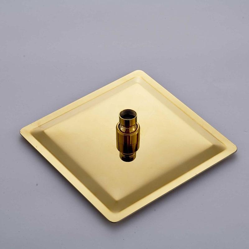 "Image 3 - Luxury 8/10/12"" Rainfall Golden Shower Faucet Set Wall Mount Single Handle Shower Mixer Tap Square Handshower Concealed Install-in Shower Faucets from Home Improvement"
