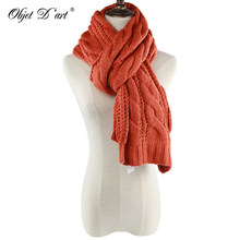Hot New High Quality Autumn Winter Women Thick Knitted Woolen Scarves Korean Style Warm Solid Long Twisted Scarves and Shawls(China)